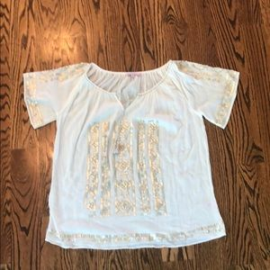 Calypso St Barth cotton gauze embellished s/s top
